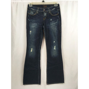 Silver Lola Distressed Bootcut Jeans Size 27